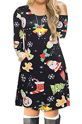 VISLILY Women's Plus Size Christmas Patterned Fit and Flare A Line Loose Dress 22W 05E