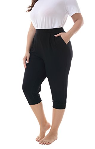 ZERDOCEAN Women's Plus Size Casual Stretchy Relaxed Lounge Capri Black 2X