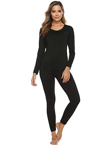 YAWOVE Women's Thermal Heat-Chain Microfiber Fleece Underwear Baselayer Top & Bottom Long Johns Set Black