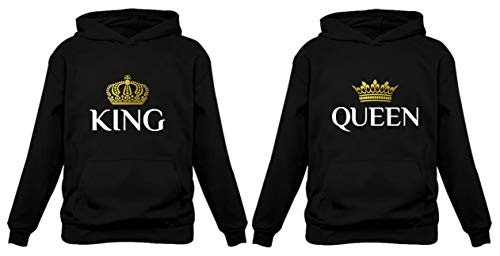 King & Queen Matching Couple Hoodie Set Valentine's Day Gift His & Hers Women Hoodie Women Small/Men Large,Black