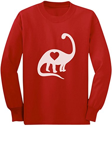 Dinosaur Love Heart Cute Toddler/Kids Long Sleeve T-Shirt 3T Red