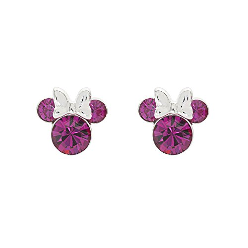Disney Women's Jewelry Minnie Mouse Silver Plated Brass October Birthstone Stud Earrings