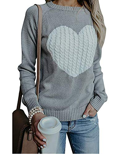 shermie Women's Pullover Sweaters Long Sleeve Crewneck Cute Heart Knitted Sweaters Grey L