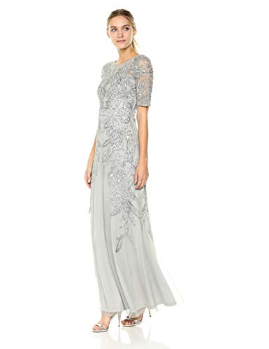Adrianna Papell Women's Floral Beaded Long Gown (BlueMist, 2)