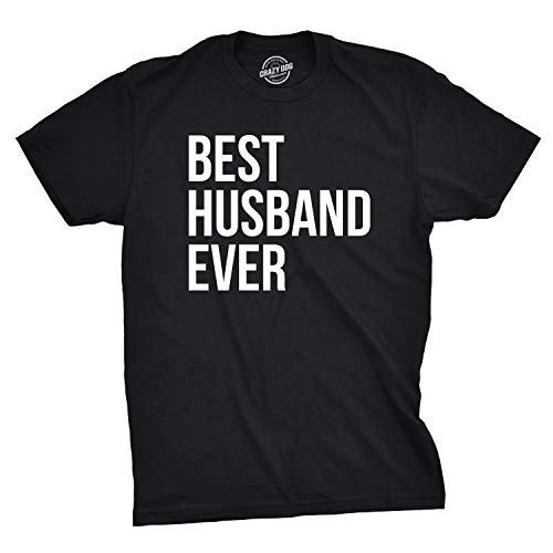 Mens Best Husband Ever T Shirt Funny Saying Novelty Tee Gift for Dad Cool Humor (Black) – L