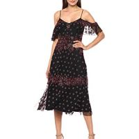 Adrianna Papell Women's Boho Inspired Cold Shoulder Floral Beaded Cocktail Dress, Black/Multi, 12