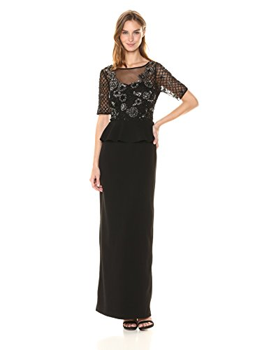 Adrianna Papell Women's Floral Beaded Gown with Peplum and St. Moss Crepe Skirt, Black/Mercury, 8