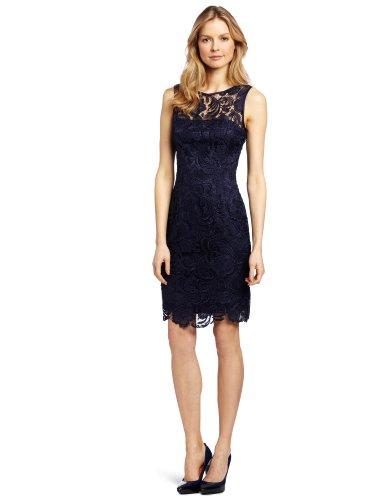 Adrianna Papell Women's Illusion Neckline Lace Dress, Navy, 16