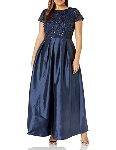 Adrianna Papell Women's Taffeta Gown with Beaded Bodice Plus Size, Navy, 16W