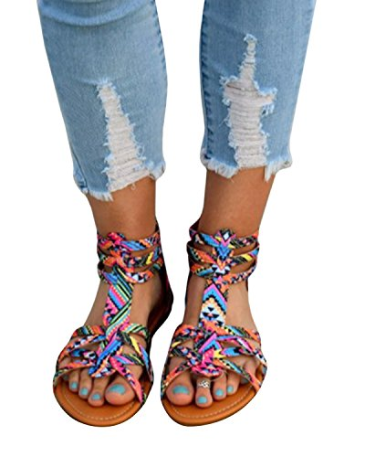 Pxmoda Womens Boho Gladiator Sandals Fashion Strappy Flat Sandal Shoes (US 8, Colour)