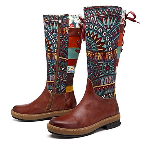 Socofy Leather Knee Boots, Women's Bohemian Splicing Pattern Flat Knee High Boots Coffee 7 B(M) US