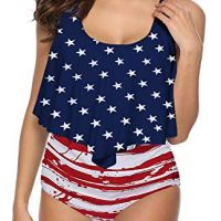 SouqFone Flattering Plus Size Bathing Suit for Women Bikini - 2XL,American Flag