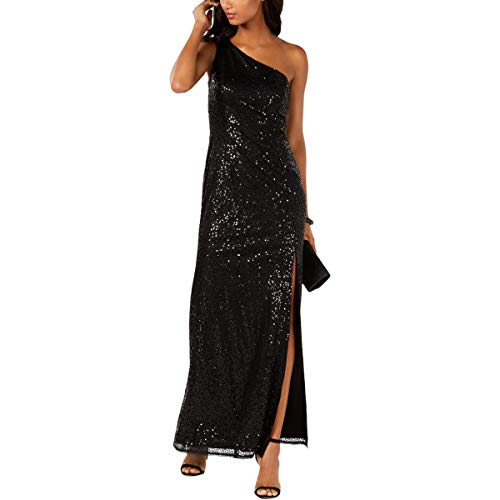 Adrianna Papell Women's Sequined One Shoulder Full Length Gown 20 Black