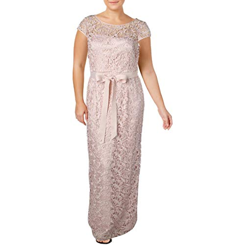 Adrianna Papell Womens Plus Crochet Prom Evening Dress Pink 18