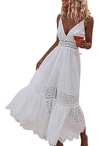 BerryGo Women's Embroidery Button Down Cotton Dress V Neck Spaghetti Strap Maxi Dress White-M