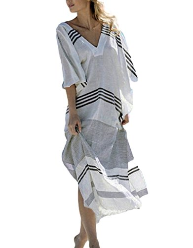 Bsubseach Women Striped Turkish Beach Kaftan Beachwear Swimwear Bikini Cover Up Maxi Dress