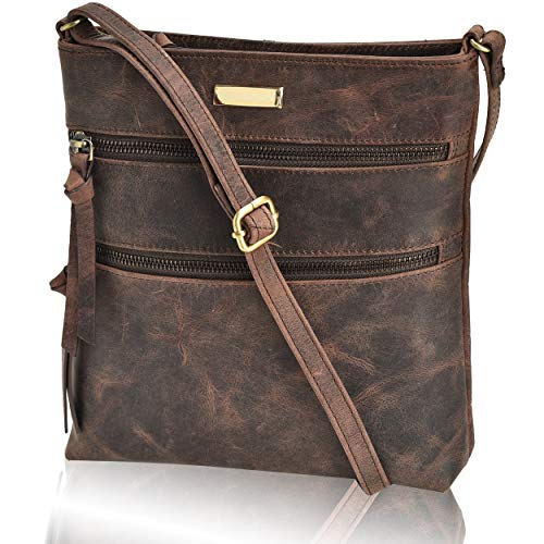 Crossbody Bags for Women – Real Leather Adjustable Shoulder Bag and Travel Purse