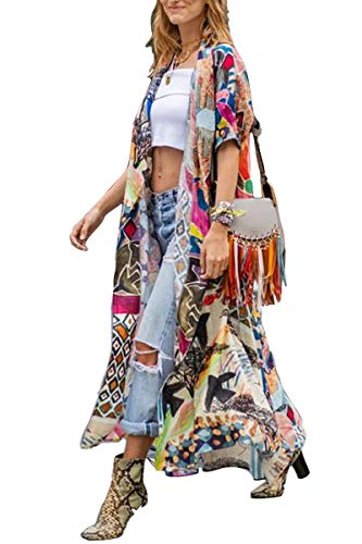 Kimono Women' s Kimono Cardigan Beach Cover up Floral Print Short Sleeve Loose Open Front Cotton Cardigans Duster (282)