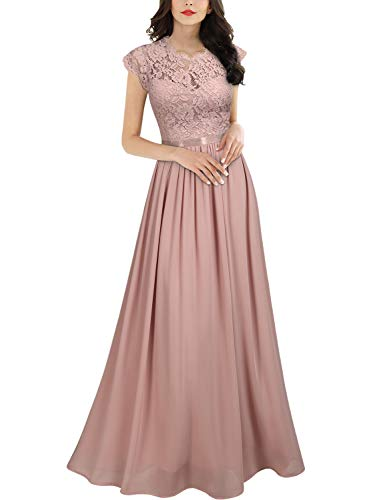 Miusol Women's Formal Floral Lace Evening Party Maxi Dress (Medium, Pink)
