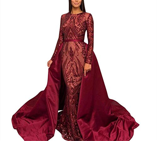 Aries Tuttle Burgundy Sequined Satin Mermaid Prom Evening Party Dress Celebrity Pageant Gown Detachable Train (US 24W Plus, Burgundy)
