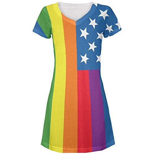 4th of July LGBT American Flag Rainbow All Over Juniors V-Neck Dress – Small
