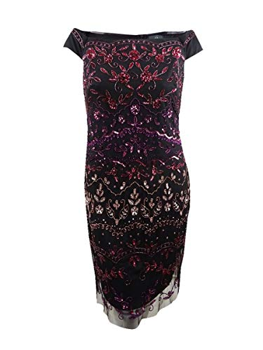 Adrianna Papell Womens Plus Sequined Mesh Cocktail Dress Black 14W