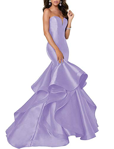 Meaningful Women's Satin Mermaid Strapless Ruffles Prom Dresses Long Sweetheart Evening Party Gowns Lavender US18