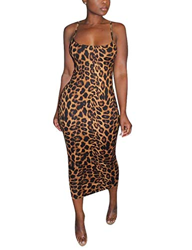 Rela Bota Women's Sexy Knitted Spaghetti Strap Sleevless Bodycon Midi Club Cocktail Dress, Leopard Print-short Sleeve, XL (fits like US XX-large)