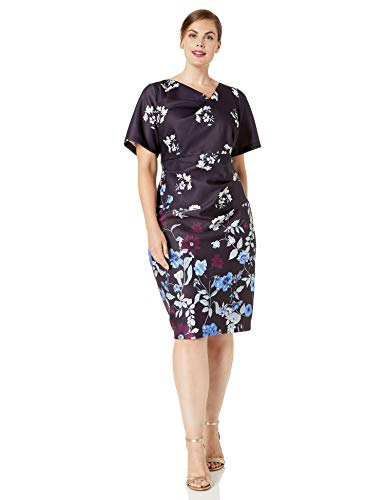 Adrianna Papell Women's Plus Size Botanical Scuba Draped Sheath, Plum Multi, 14W