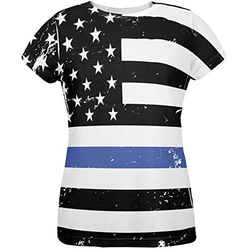 Old Glory 4th of July Distressed Thin Blue Line American Flag All Over Womens T Shirt Multi 2XL