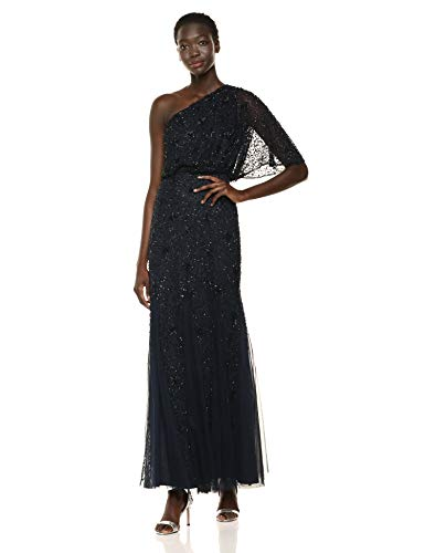 Adrianna Papell Women's Plus Size Beaded Long Dress, Midnight/Black, 20