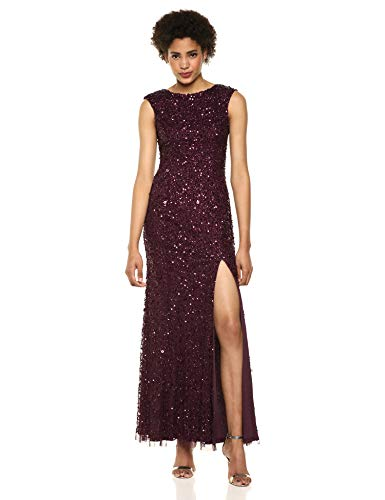 Adrianna Papell Women's Plus Size Sequin Beaded Gown with Cap Sleeves and Boat Neckline, Night Plum, 20