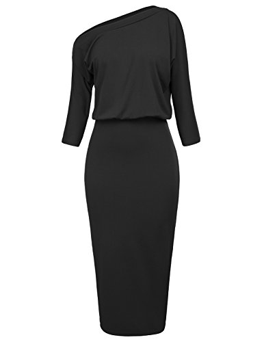 GRACE KARIN Women's Pull-on One Shoulder Bodycon Party Pencil Dress Size L Black