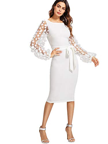 SheIn Women's Elegant Mesh Contrast Bishop Sleeve Bodycon Pencil Dress Large White#3