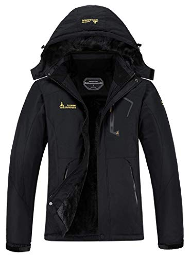 MOERDENG Women's Waterproof Ski Jacket Warm Winter Snow Coat Mountain Windbreaker Hooded Raincoat,Black,L