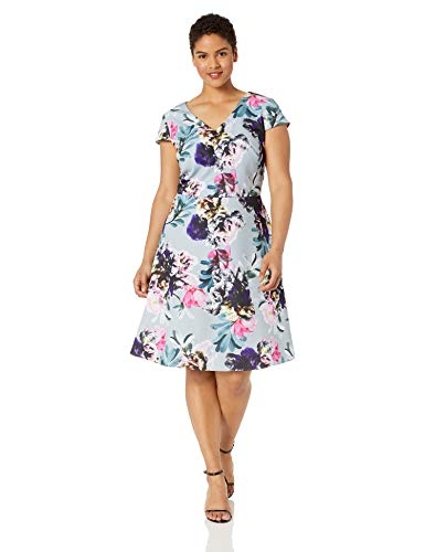 Adrianna Papell Women's Plus Size Mystic Floral FIT and Flare, Blue Multi, 24