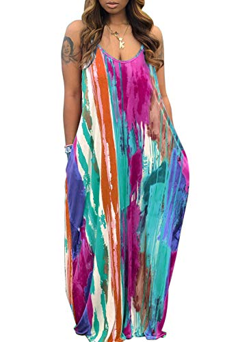CutieLove Women's Summer Casual Plus Size Dress Loose Tie Dye Strap Maxi Dress with Pockets