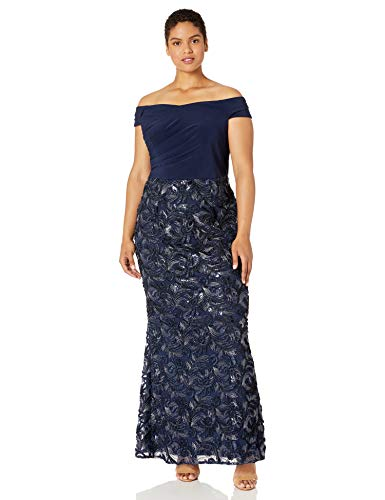 Adrianna Papell Women's Plus Size Soutache Long Dress, Midnight, 20