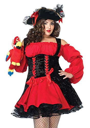 Leg Avenue Women's Plus Size Vixen Pirate Wench with Velvet Double lace up Corset Dress, Red/black, 3X/ 4X