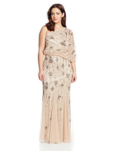 Adrianna Papell Women's Plus-Size One Shoulder Blouson Gown, Nude, 14