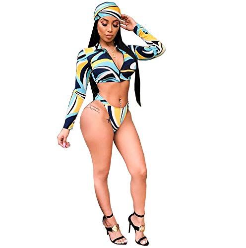 Bowanadacles Womens Long Sleeve Zipper Front high Waist Thong Bikini Set 3 Piece Swimsuit (Dark, M)