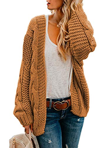 Astylish Womens Fashion Winter Warm Cozy Open Front Long Sleeve Chunky Knit Cardigan Sweater Outwear Coat Medium 8 10 Yellow Brown