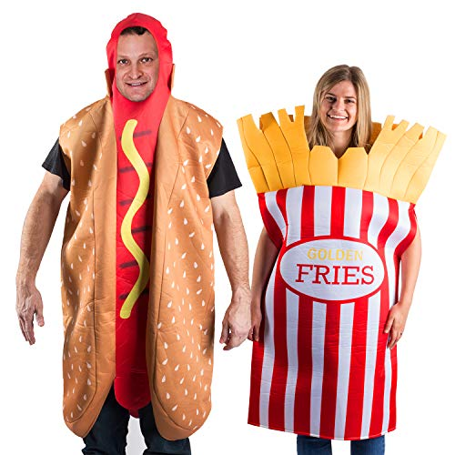 Tigerdoe Hotdog and French Fries Couple Costume – Halloween Funny Costume – Food Costume – Novelty Costumes – 2 Pc Set