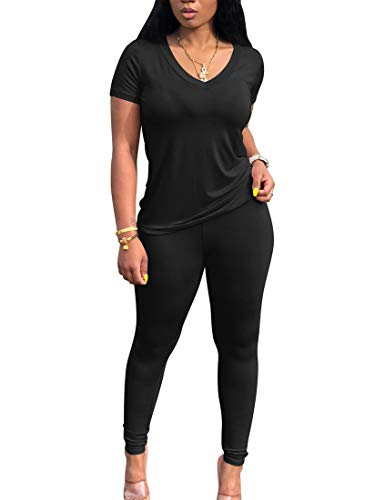 BORIFLORS Women's Causal 2 Piece Outfits Jumpsuits V Neck Basic Tops T Shirt with Sexy Pants Set,Large,Black