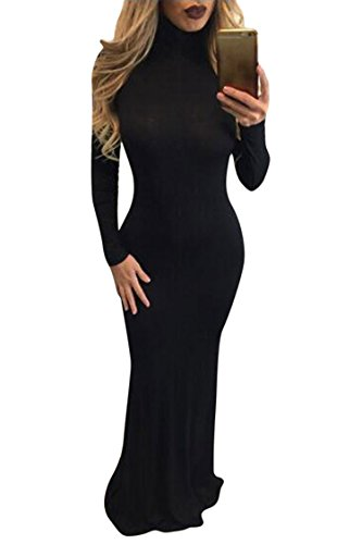 MeeNew Women's Solid Halterneck Long Sleeve Prom Maxi Bodycon Dress Black L