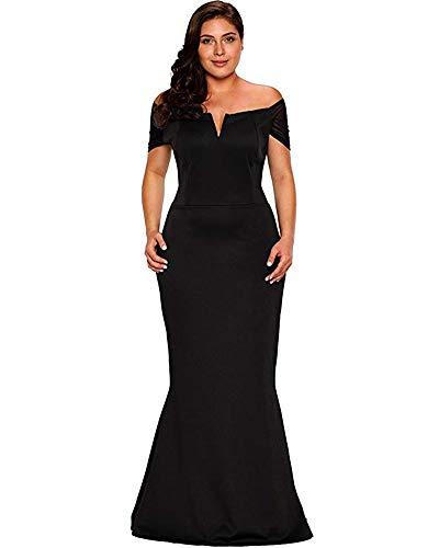 LALAGEN Women's Plus Size Off Shoulder Long Formal Party Dress Evening Gown Size XXL Black