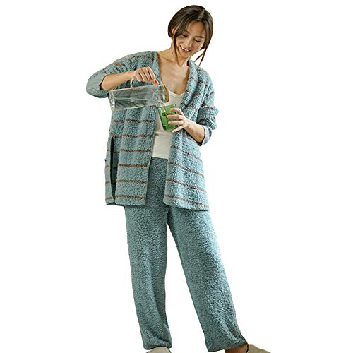 Soft Coral Fleece Women's Pajamas Set, Cute Winter Warm Comfortable Striped Japanese Style Furry V-Neck Split Casual Spiral Pattern Cuffs 2-Piece Pajamas,L