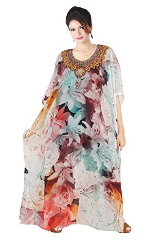 Cruise wear Kaftan Exotic Designer Print Kaftan Beach Party Kaftan Dress Embellished Plus Size Sequin Silk Full Length Kaftan for Short Women 306