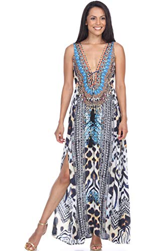 Resort Beach Summer Party Maxi Long Dresses for Women – Sun Beach Club Dresses, Summer Wedding and Casual Evening (Large/X Large, 191038SD)