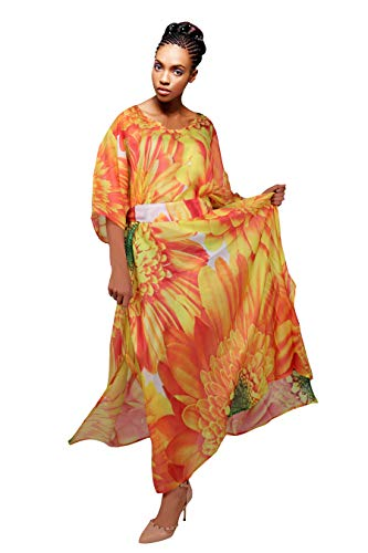 Silk kaftan Sunflower Print Silk Caftan Womens Long Silk Dress Beach Dress Coverup Plus Size Caftan Resort wear Yellow